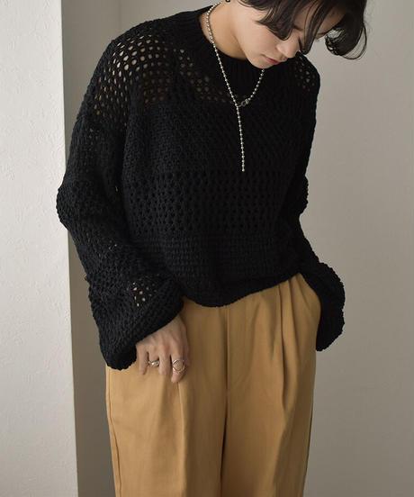 knit-02143 メッシュニットプルオーバー ベージュ ブラック