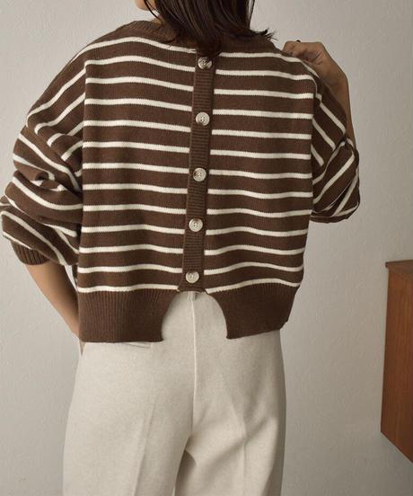 knit-02139 バックボタン ボーダーニット プルオーバー ブラウン