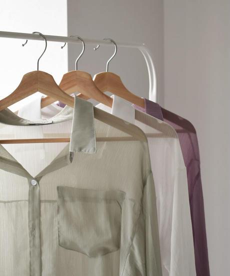 tops-02162 シアーロングルーズシャツ ホワイト ミント パープル