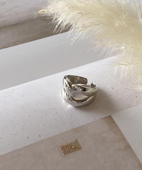 mb-ring2-02121 SV925 ボリュームX字リング  シルバー925  ゴールド