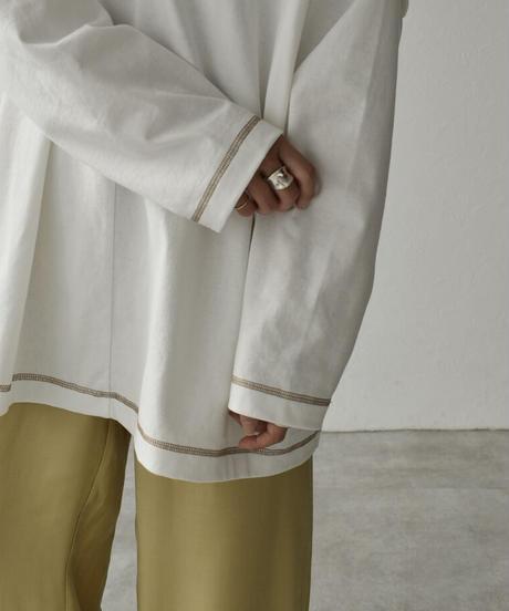 nh-tops-04054 日本製 レイヤード風 ルーズ Tシャツ オフホワイト ダークブラウン