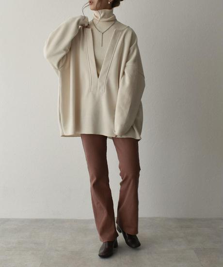 knit-02106 リブ タートル ネック ニット オフホワイト グリーンティー ブラック
