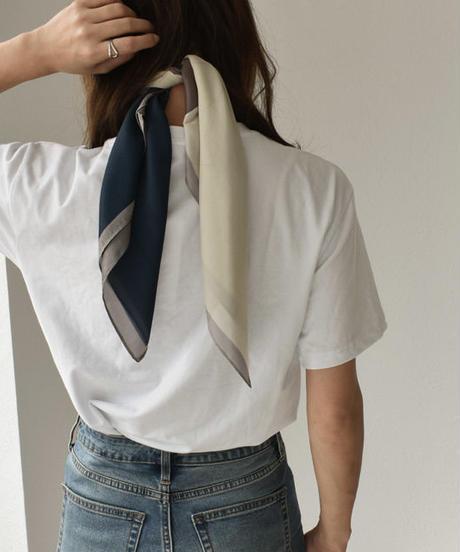 mb-scarf-02013 4トーン柄スカーフ キャメル×ネイビー