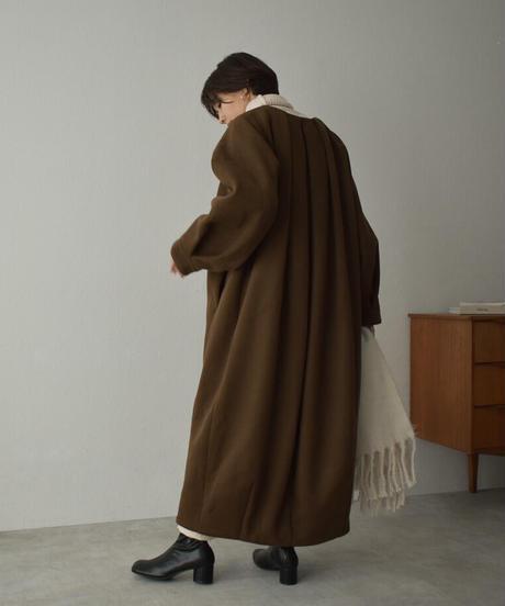 coat-13004 タックノーカラー ウールコート モカ