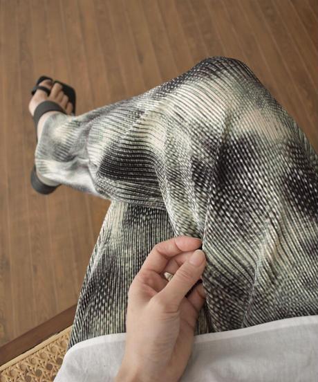 bottoms-02106 タイダイ柄 リラックス プリーツ パンツ クリーム ブラウン グリーン