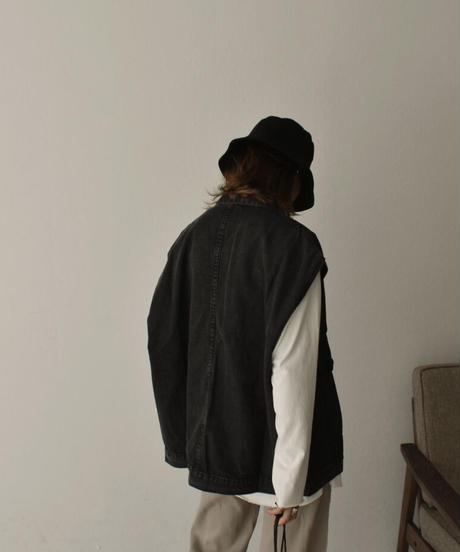 jacket-02001 ブラックデニム ビッグベスト