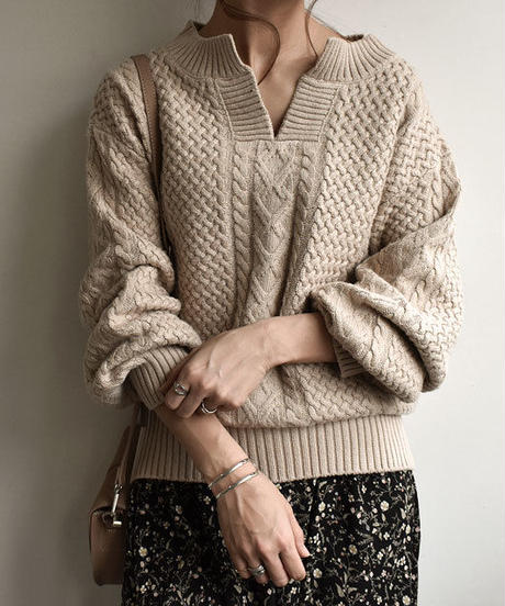 knit-02030 ウール混 キーネック アランニットプルオーバー ベージュ