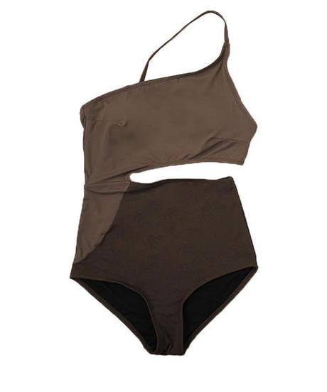 swim-02286 ブラウン バイカラー ワンショルダー カットオフ ワンピース 水着