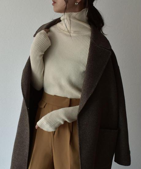 knit-02101 フィンガーホール タートルネック ニット アイボリー モカミックス ブラウン ダークブラウン ブラック