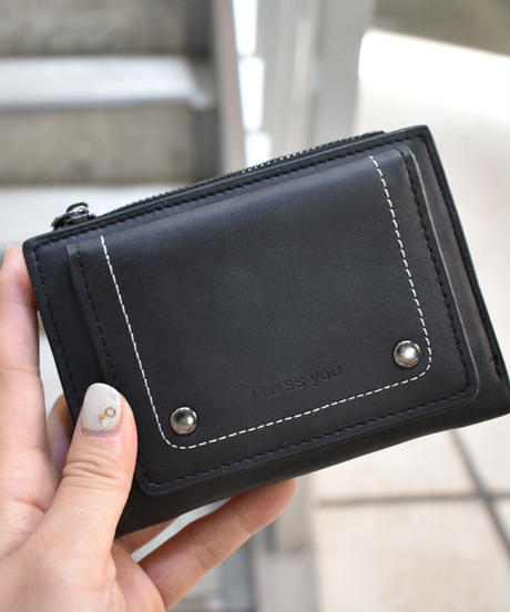 wallet-02062 アウトカードケース付き 二つ折り財布 小銭入れ付き ウォレット ブラック キャメル グレー