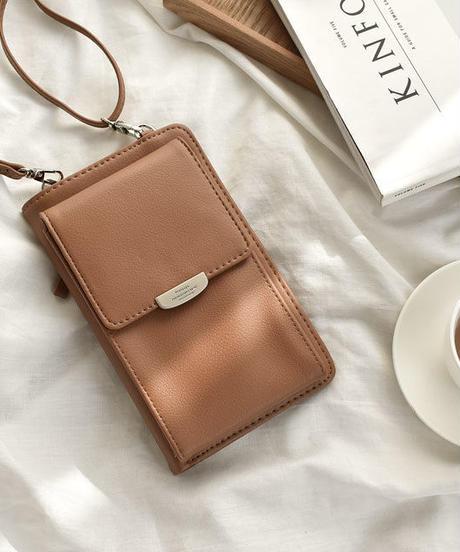 wallet-02075 フェイクレザー ウォレットケースショルダー ブラウン
