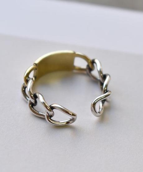 mb-ring2-02031 SV925 ゴールドプレート&チェーンデザインリング シルバー925