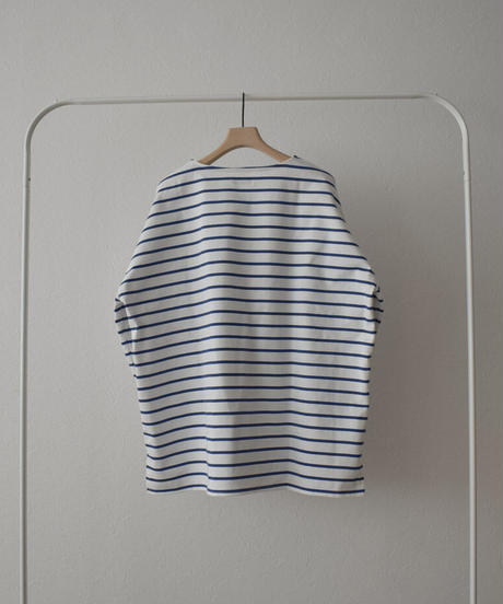 tops-04090 日本製 オーバーサイズ ボーダーバスクシャツ ホワイト×ブルー