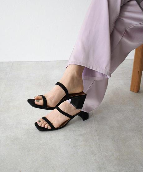 shoes-02095 スクエアトゥ ダブルストラップ ミュールサンダル ブラック エクリュ