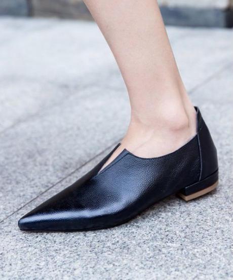 shoes-02001  本革 ポインテッドトゥ Vカット フラットパンプス ぺたんこ靴 バブーシュ フラットシューズ