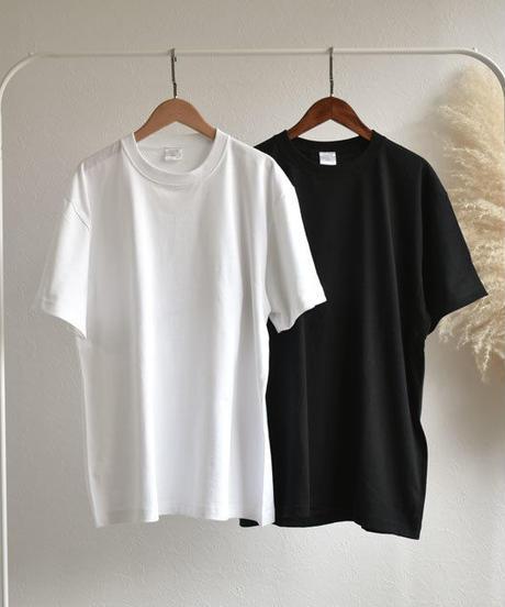 tops-02088 ヘビーウェイト ベーシック無地 オーバーサイズクルーネックTシャツ ホワイト ブラック
