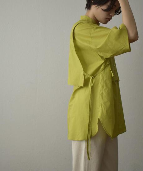 tops-04087 日本製 レイヤードツインシャツ ホワイト ライムグリーン ブラック