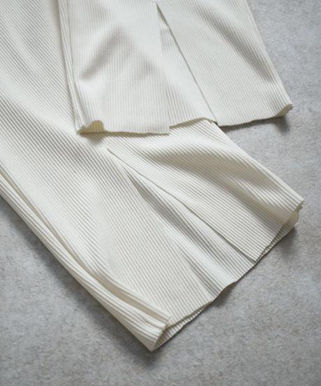 swim-04008 日本製 センタースリット リブラッシュパンツ オフホワイト カーキブラウン ダスティパープル