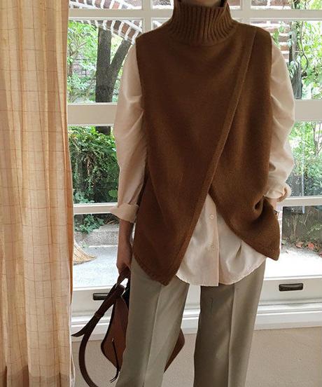 knit-02032 スリット入り タートルニットベスト ブラウン