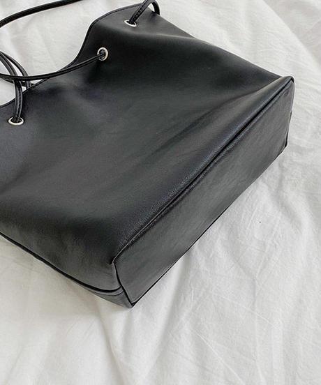 bag2-02489 ソフトエコレザー ショルダーバッグ ブラック ホワイト ベージュ カーキベージュ