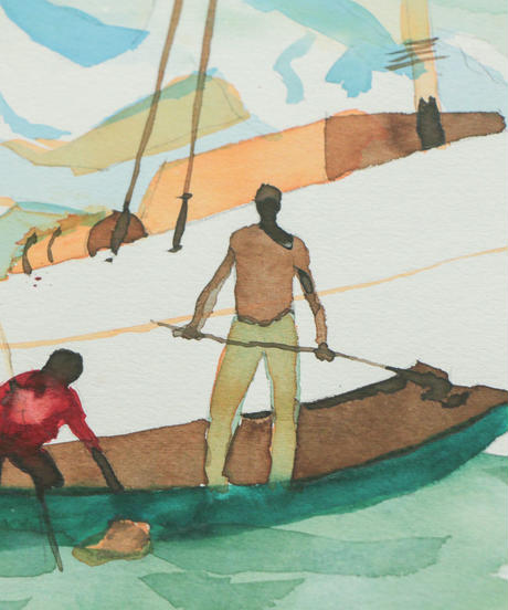 漁師の水彩画
