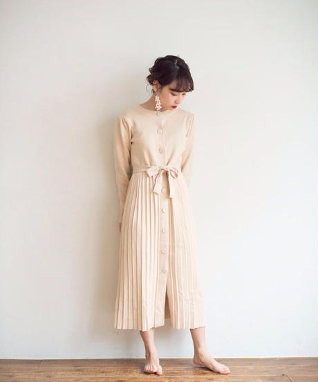 knit ribbon one-piece