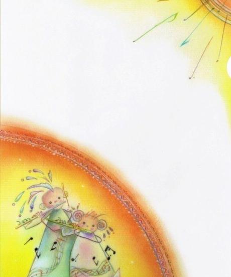 CF002 クリアファイル「太陽とフルートを吹く女の子」:なわりよこ