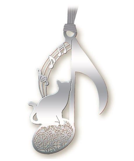 BC002 猫と音符のしおり(シルバー)