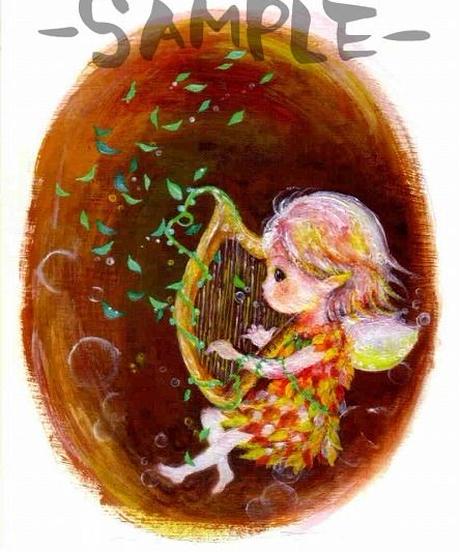 PC003 ポストカード「ハープを奏でる妖精」:こまつざきなおみ