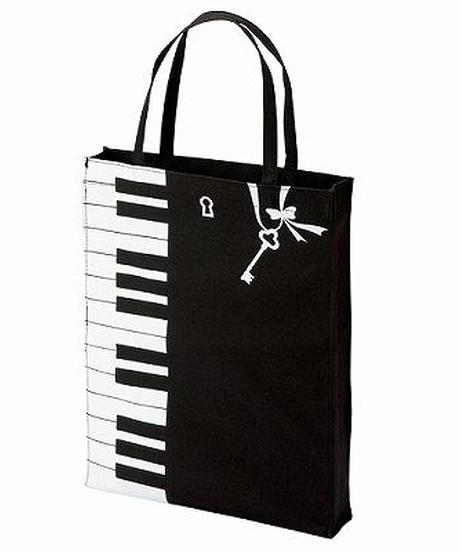 MZ007 ピアノイラストのレッスンバッグ:マチあり