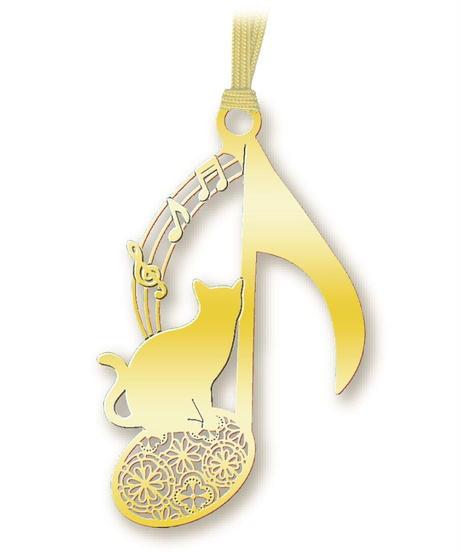BC001 猫と音符のしおり(ゴールド)