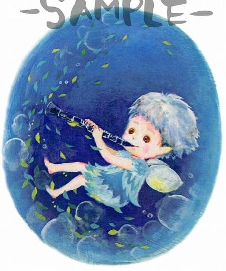 PC005 ポストカード「クラリネットを吹く妖精」:こまつざきなおみ