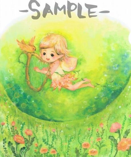 CF004 クリアファイル「ハープを奏でる妖精~草原にて」:こまつざきなおみ