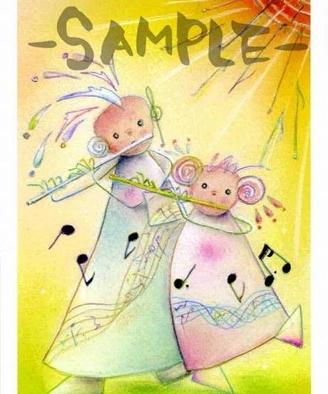 PC002 ポストカード「太陽とフルートを吹く女の子」:なわりよこ
