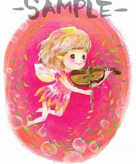 PC006 ポストカード「バイオリンを弾く妖精」:こまつざきなおみ