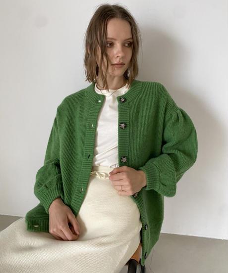 Volume sleeve color knit cardigan
