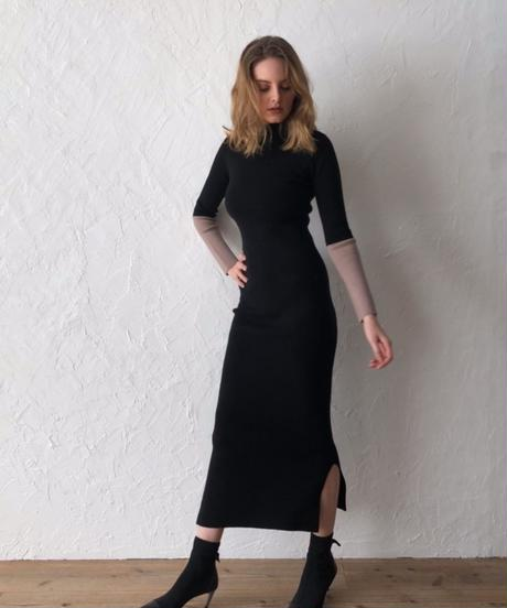Color block long knit dress