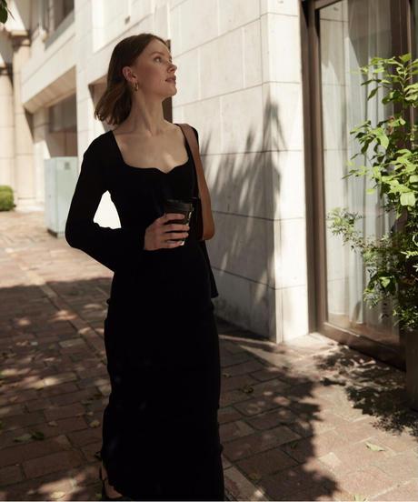 back cross rib knit dress