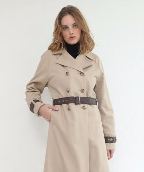 Fake leather docking trench coat