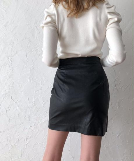 wrapping eco leather skirt