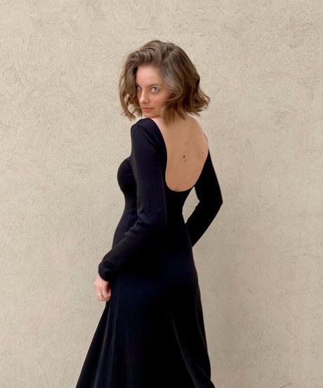 Back open knit dress