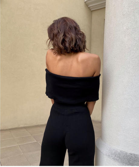 Off shoulder knit jumpsuits