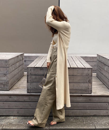 Coordinate A 【Long knit cardigan & square neck tank】 ×【 Cotton chino pants】