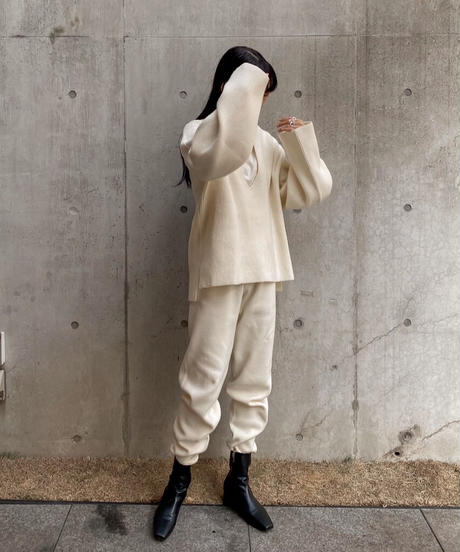 Knit tapered pants