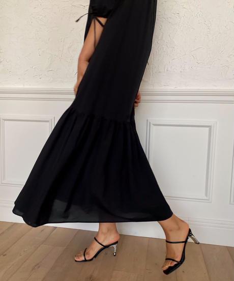 Volume gather cotton dress