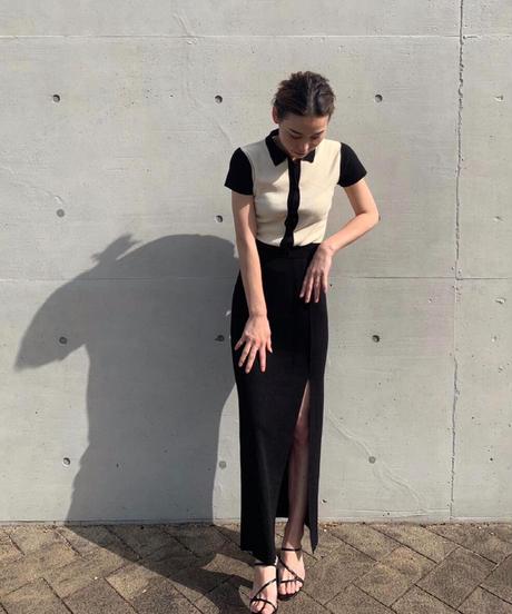 Slit knit slim skirt