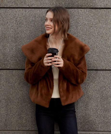 【数量限定】 Shawl collar fake fur jacket