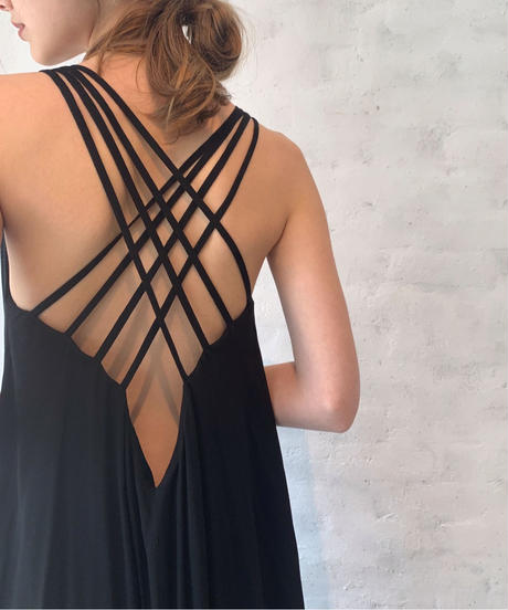 Back cross long DRESS