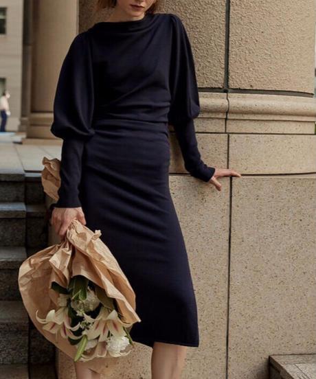 Ghater detail knit dress