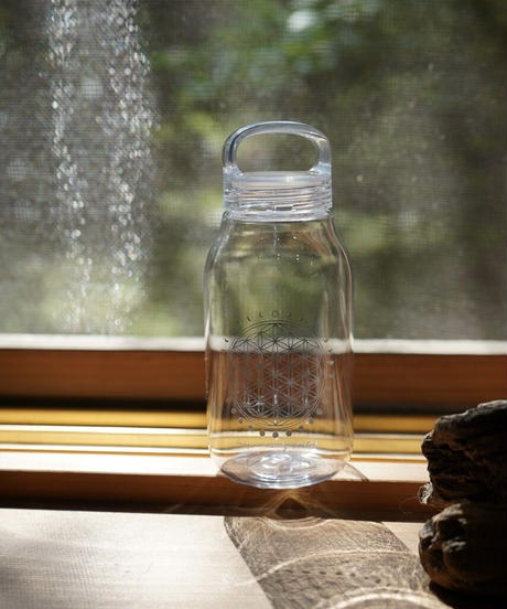 moon circle flower of life water bottle CLEAR